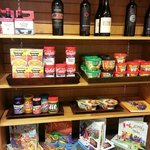 Some of the food items sold in the shop next to the front desk.