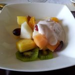 lovely fresh fruit salad for breakfast