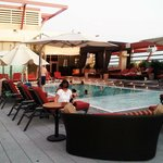 Rooftop pool area and cabanas