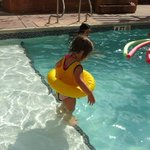 The platform in the pool was convenient...the pool is shallow and conducive to play