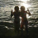 granddaughters enjoying playing in the water before sunset every night