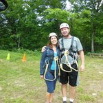 Enjoying a zip-line experience on Sugarloaf Mountain