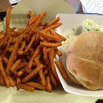 Sweet Potato Fries and pulled Chicken