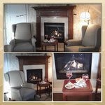 Collage of sitting area by fireplace