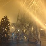 A view of the Duluth lift bridge from our room on a foggy night
