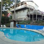 swimming pool & the back of the Trails Inn on the hill