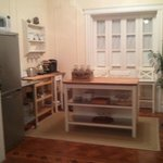 Kitchenette area.  No sink but good for heating and storing food.