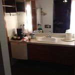 bathroom, very cute & 70s style --toilet and sho