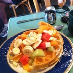 Poppy seed waffles with fruit