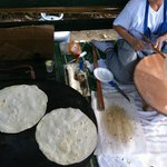 Lady making flat breads