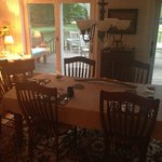 Dining area and view of the back porch
