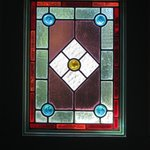 Stained glass window in the bathroom