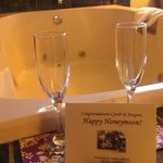 Chilled champagne gift w/ card and glasses