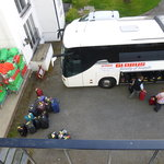 Our view of buses &dirty linen bags