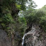 Waterfall in hotel grounds.  The grounds were beautifully maintains with many plants and trees l