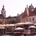 Lively town plaza in Sibiu