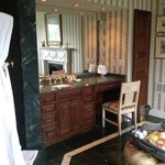 marble tile floor and double granite vanity