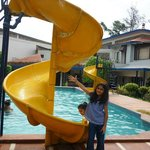 Kids pool with mini water slides is main attraction for kids