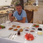 turkish breakfast on the hotel terrace