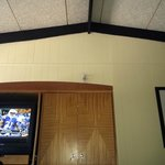 Vaulted ceiling and TV