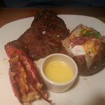 Ribeye and grilled lobster