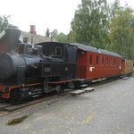 Narrow-gauge steam train prepared for traffic the following day