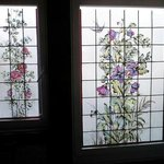 Stained glass bathroom windows.