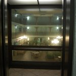 View through glass elevator