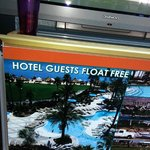 "Sign at entrance stating ""guests float for free"""