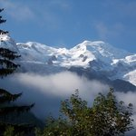 The view from our hotel balcony of Mont Blanc