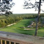 the 9th green looking down from the clubhouse deck