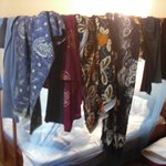 Drying clothes on twin bed
