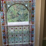 An original stained glass window in Stratford YHA