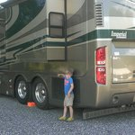 Grandson tending to the rig.