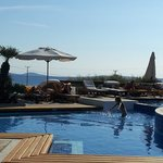 The swimming pool with Aegean Sea in the background