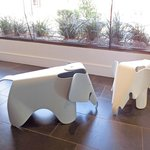 Cute little elephant stools at the Cosmopolitan Hotel reception area