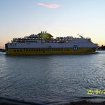 cruise liner passing hotel