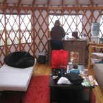 Inside the yurt, looking toward the ocean