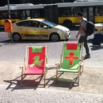 Ampelmann deck chairs in front of theshop