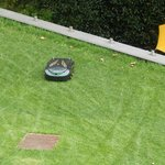 Robot lawn mower as seen from room...too cool!