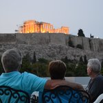 Rooftop terrace view of Acropolis