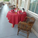 breakfast table set up by our innkeeper
