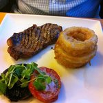 steak and huge onion rings!