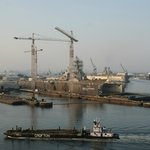 US naval ships in drydock, taken out the window