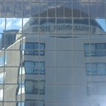 View of building next to us - Hotel name in reflection