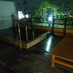 Outdoor onsen at the top floor