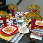 Breakfast table setting