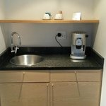 Little kitchenette with espresso machine and fridge (take your own water, and tea)
