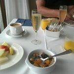 Treated to cava sparkling wine for our last breakfast in Horitzo