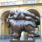 Botero statue across the street from the entrance